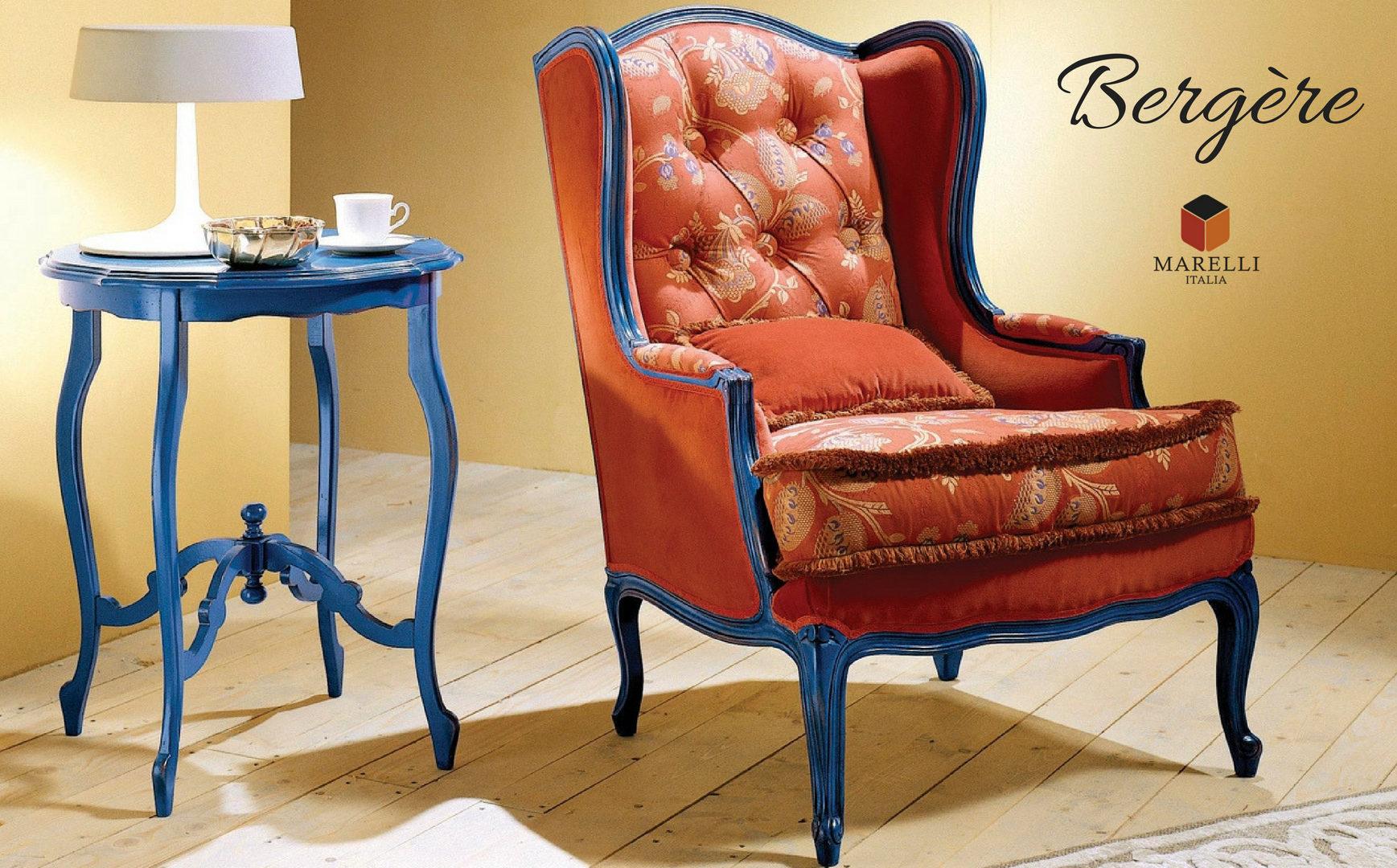 Poltrona Bergère color arancione con profili blu