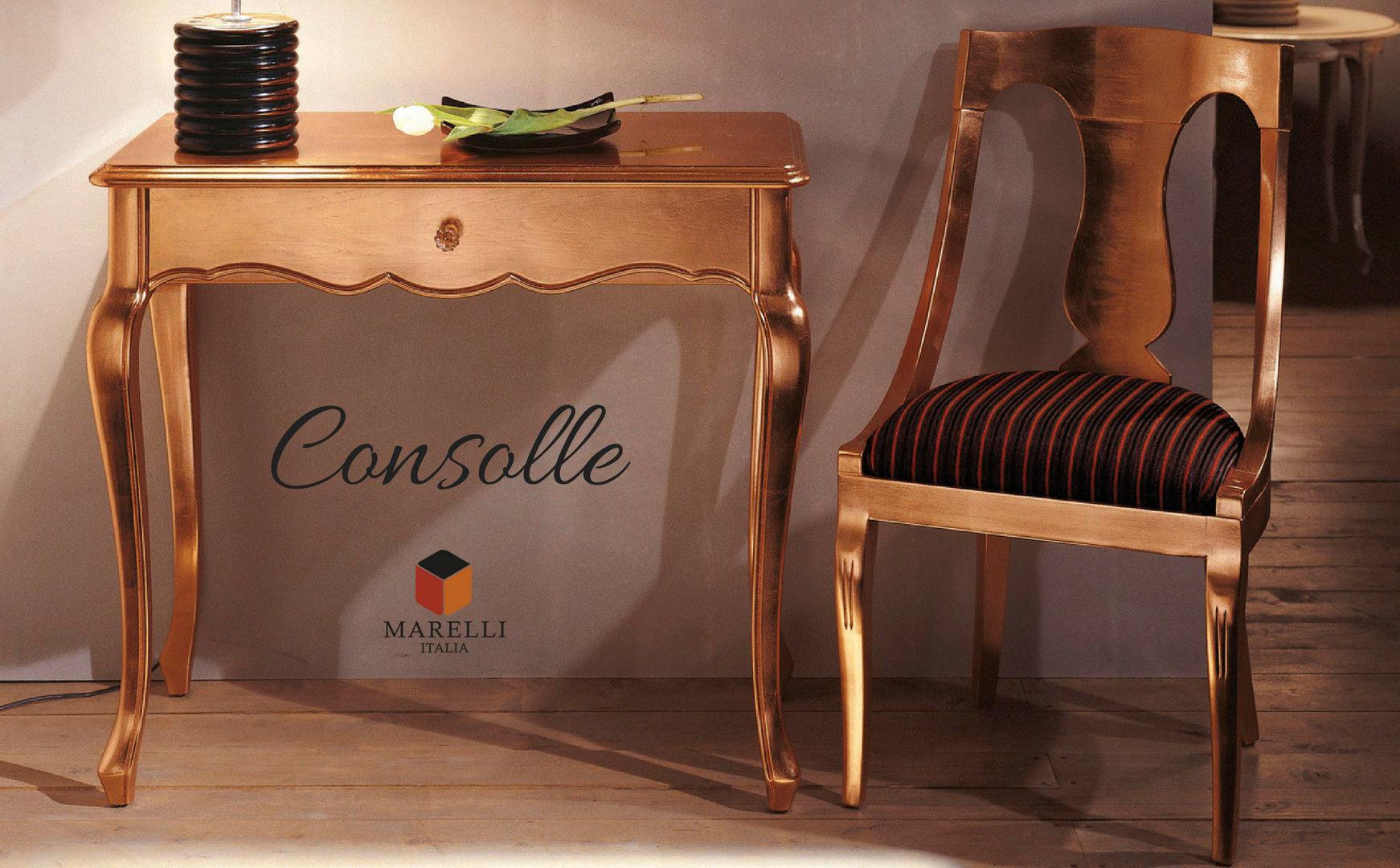 consolle con cassetto singolo color rame con sedia accompagnata