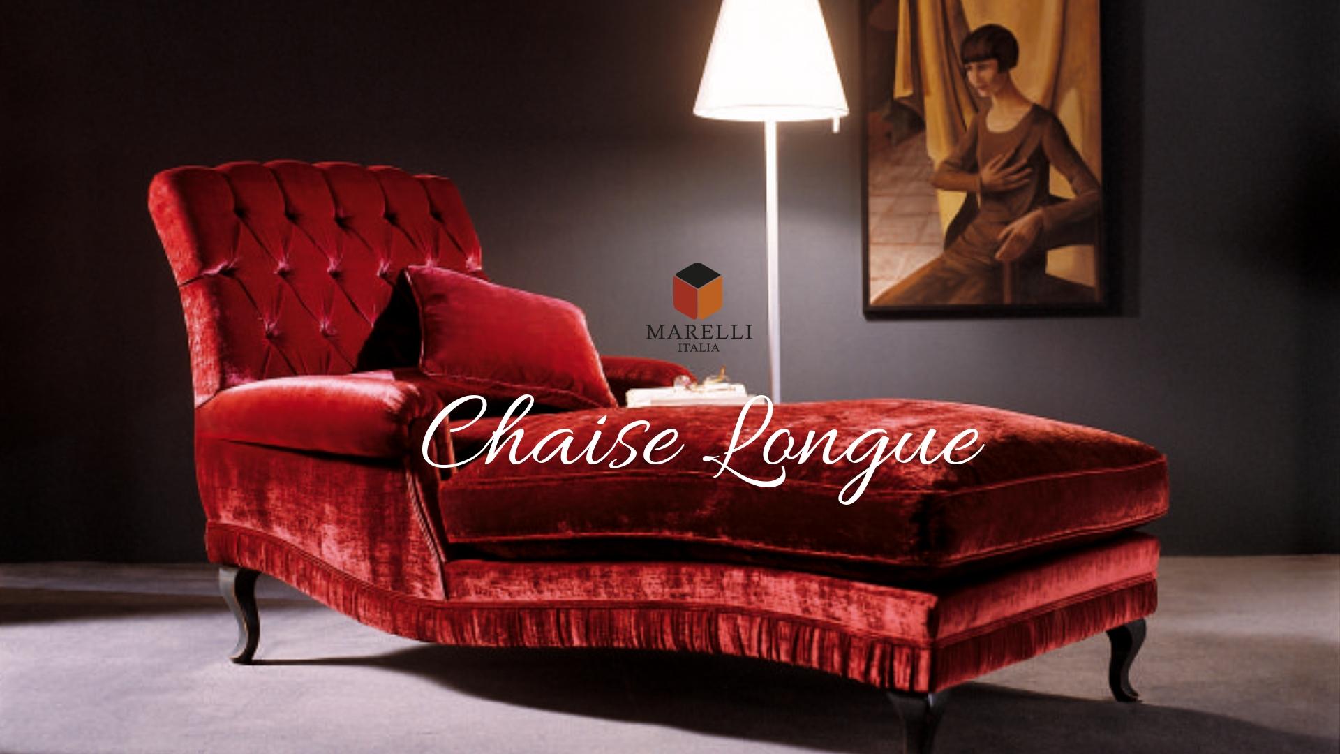 Chaise Longue classica di velluto rosso