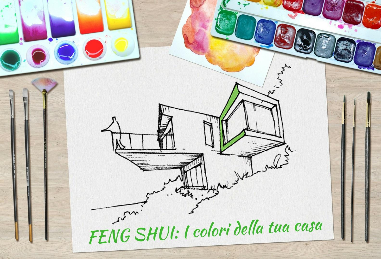 Tavolozza di colori con la bozza di un disegno di una casa